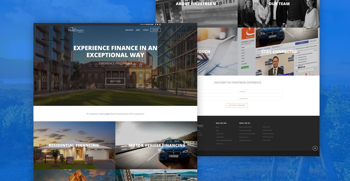 Example work of our web design services for Finestream Capital