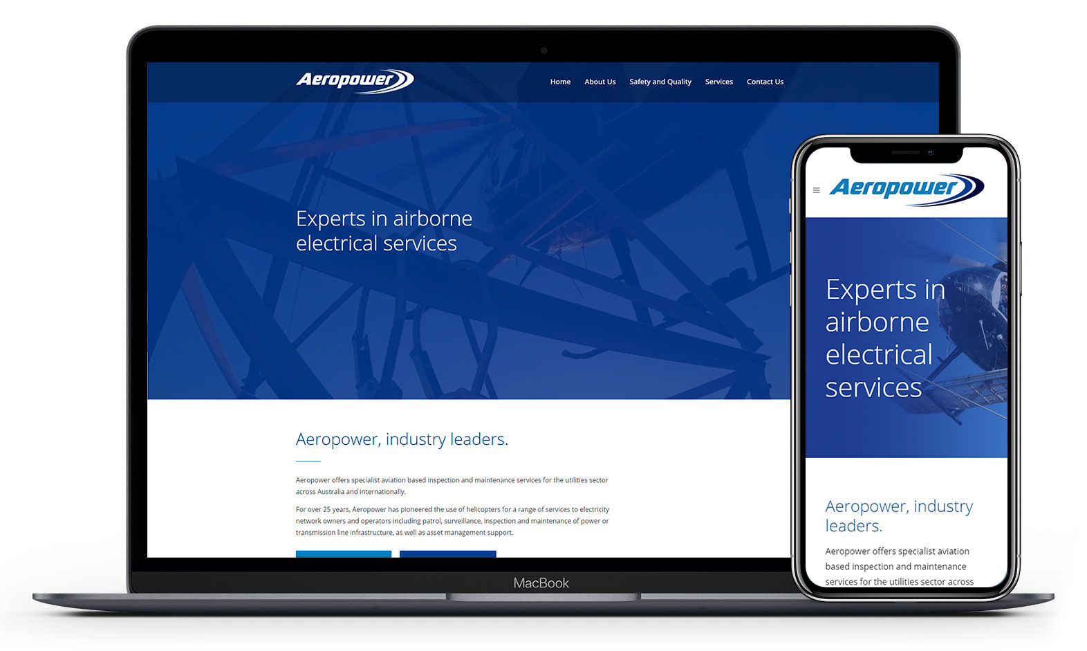 Aeropower's website design displayed responsive devices