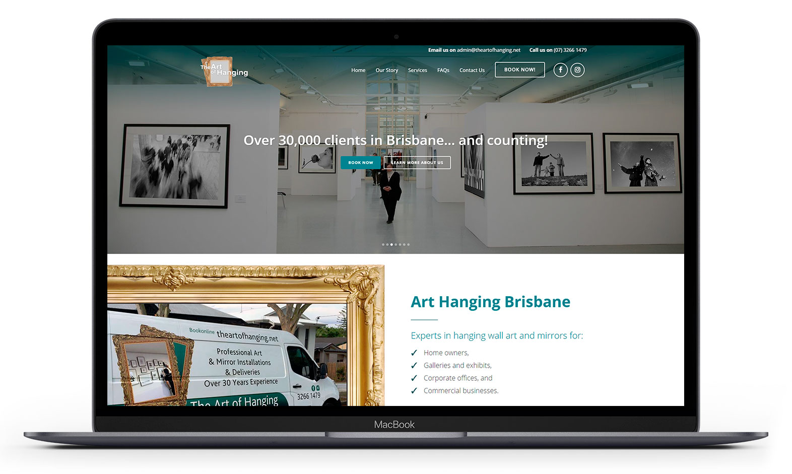 Art of Hanging's website design displayed responsive devices