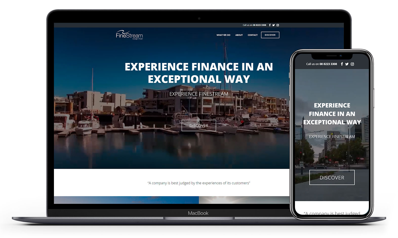 Finestream Capital's website design displayed responsive devices