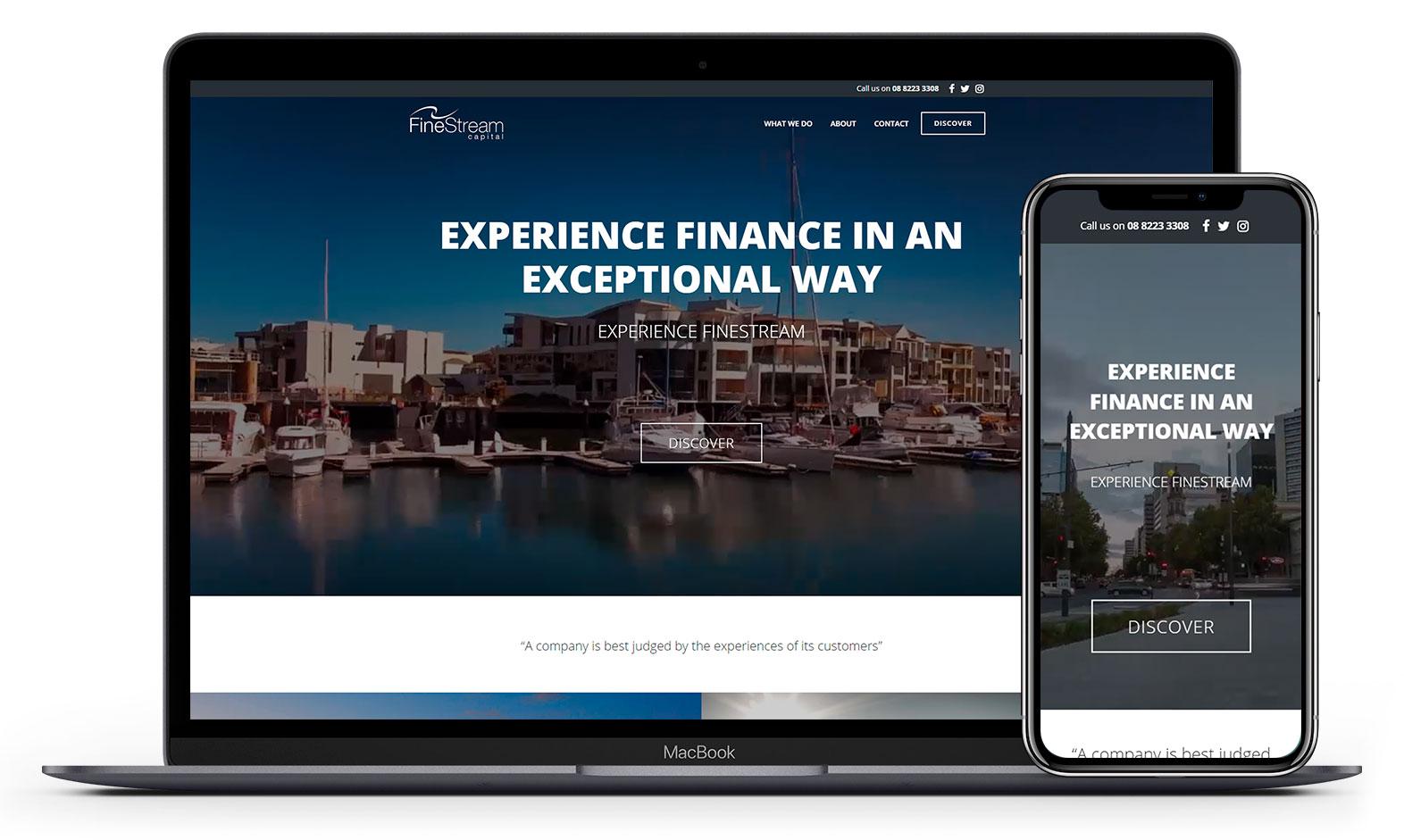 Finestream Capital's website design displayed responsive devices