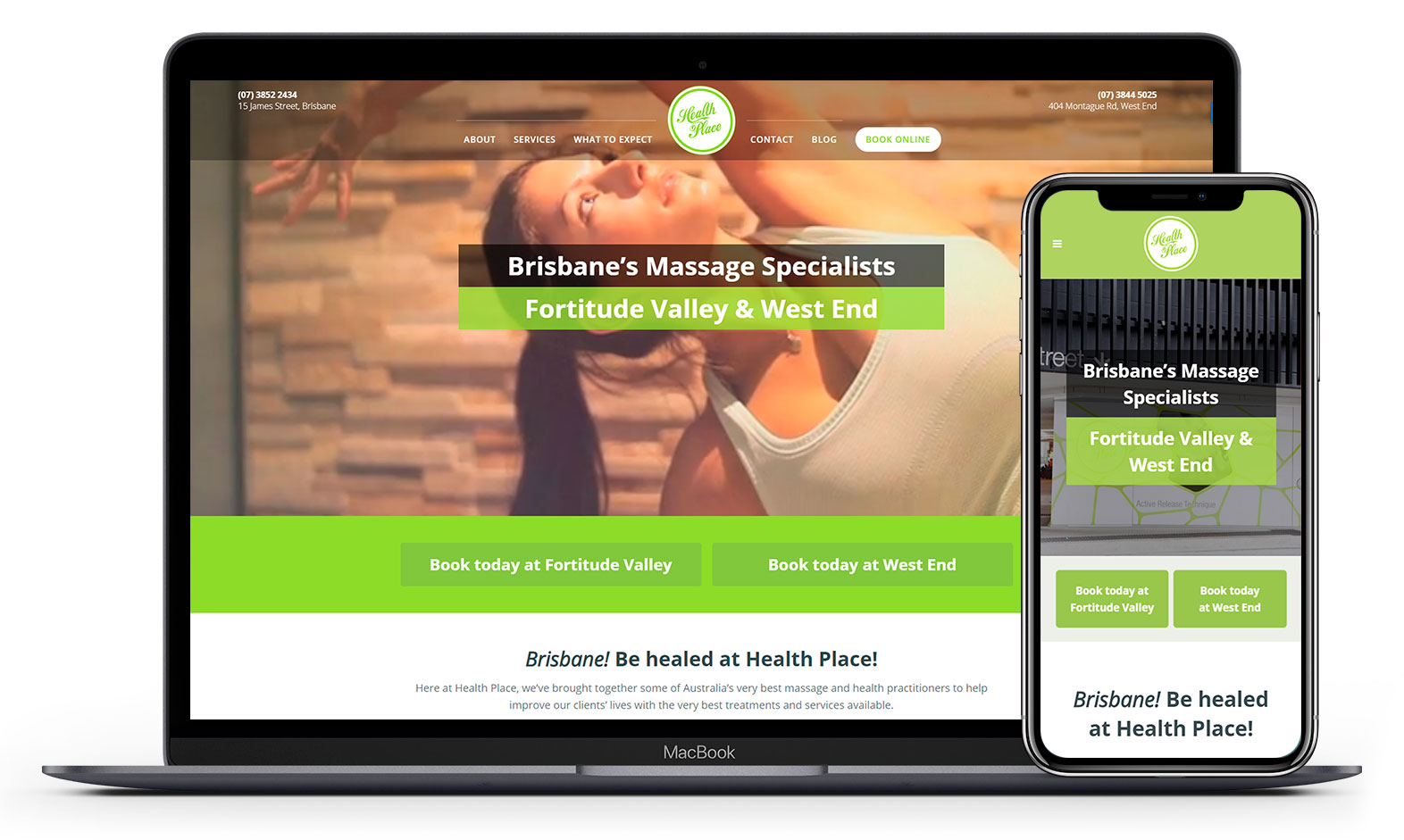 Health Place's website design displayed responsive devices