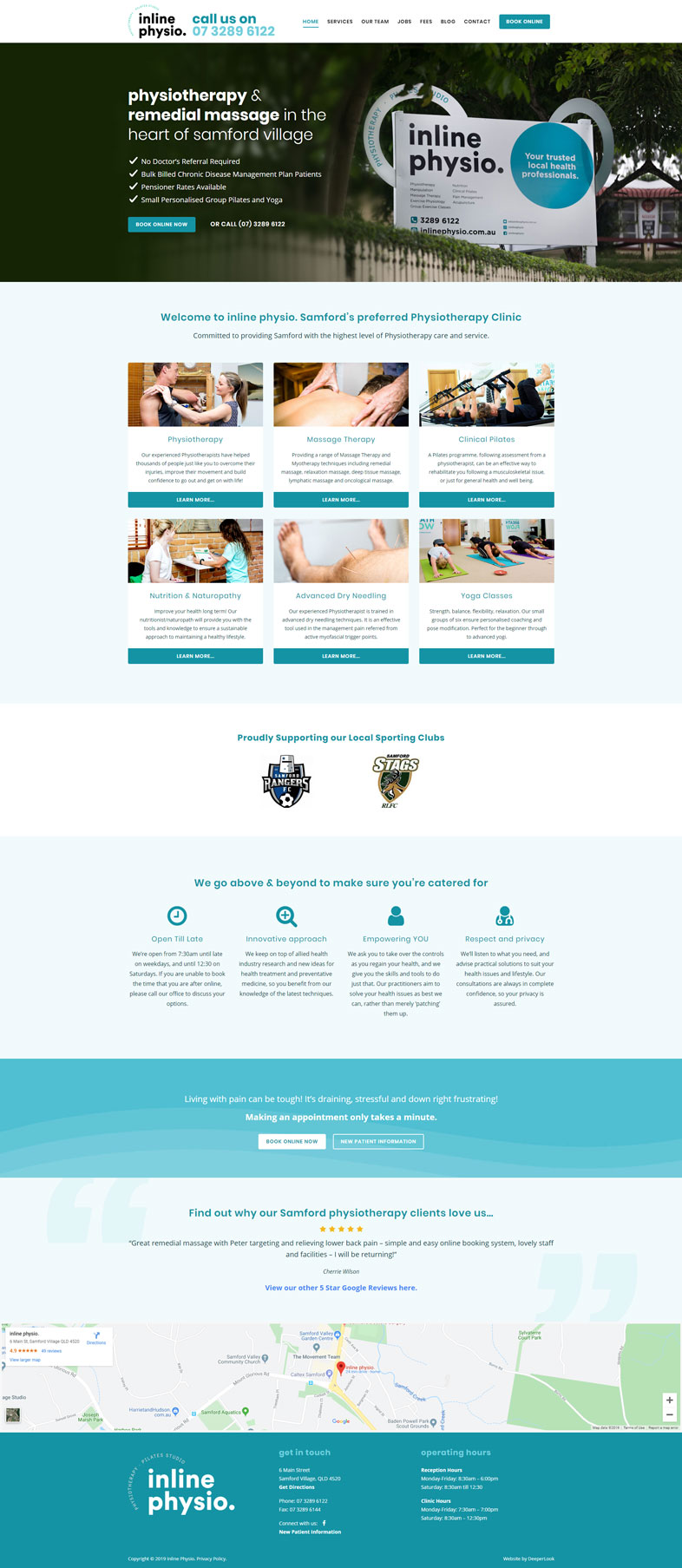 Inline Physio's website design of the homepage
