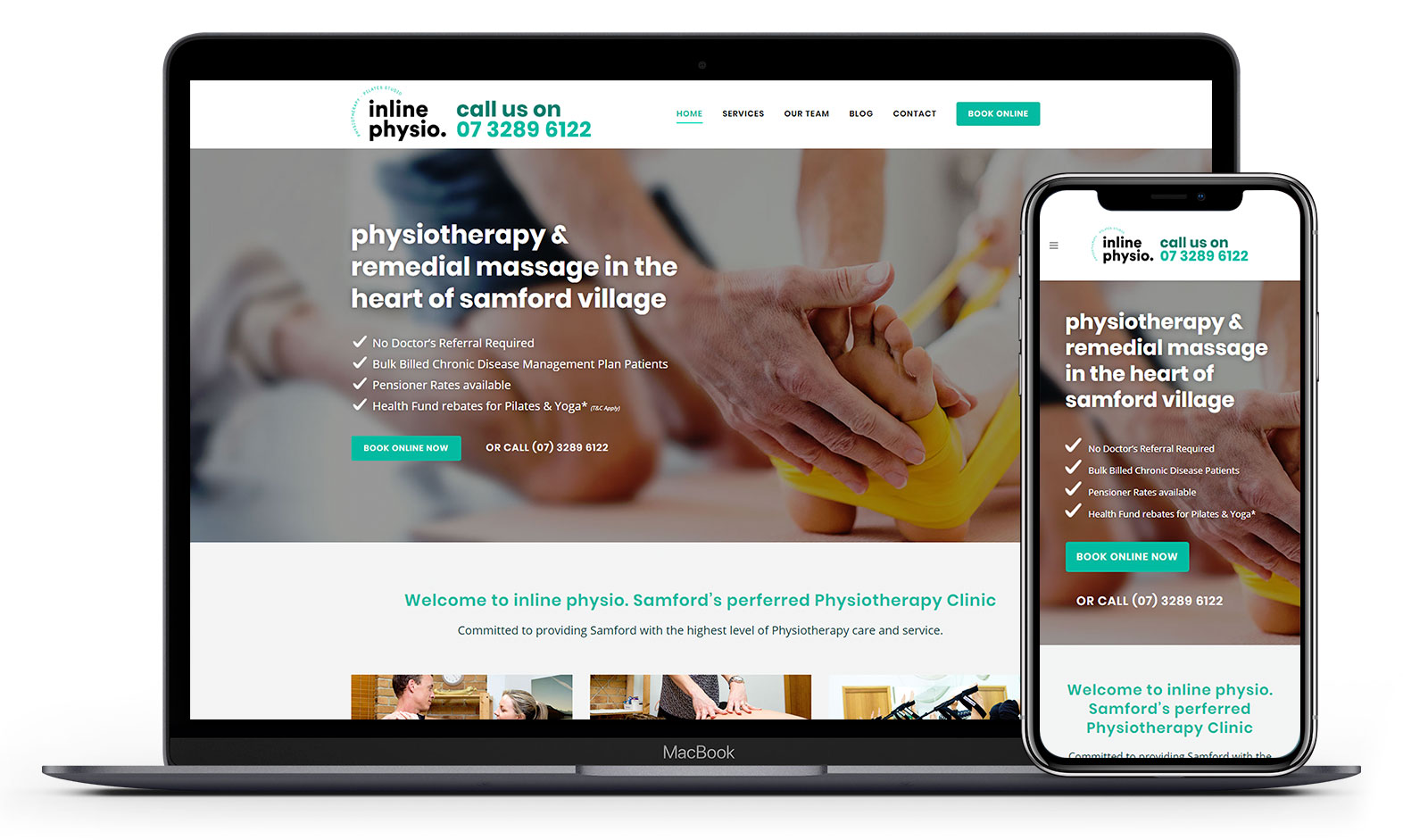 Inline Physio's website design displayed responsive devices
