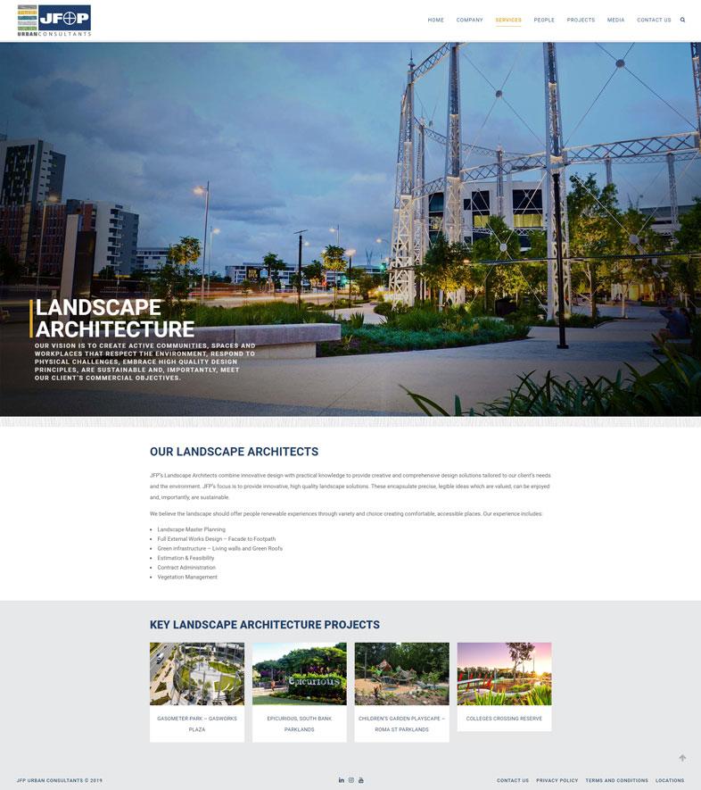 JFP's website design of a service page