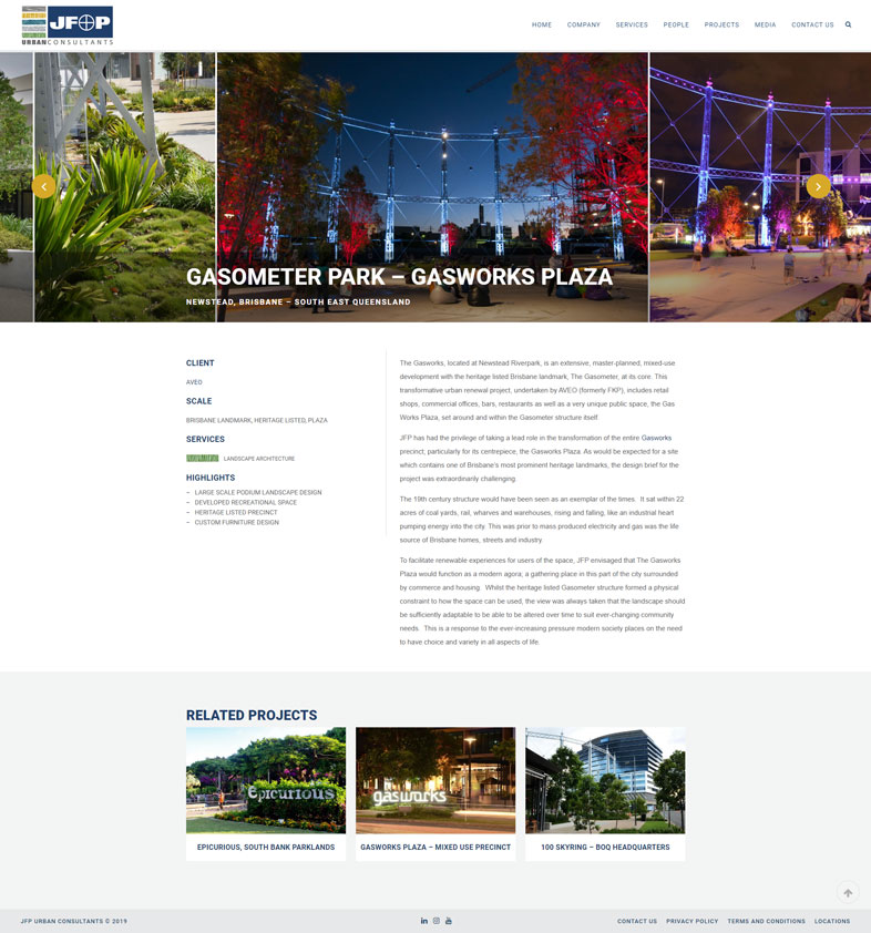 JFP's website design of a project page