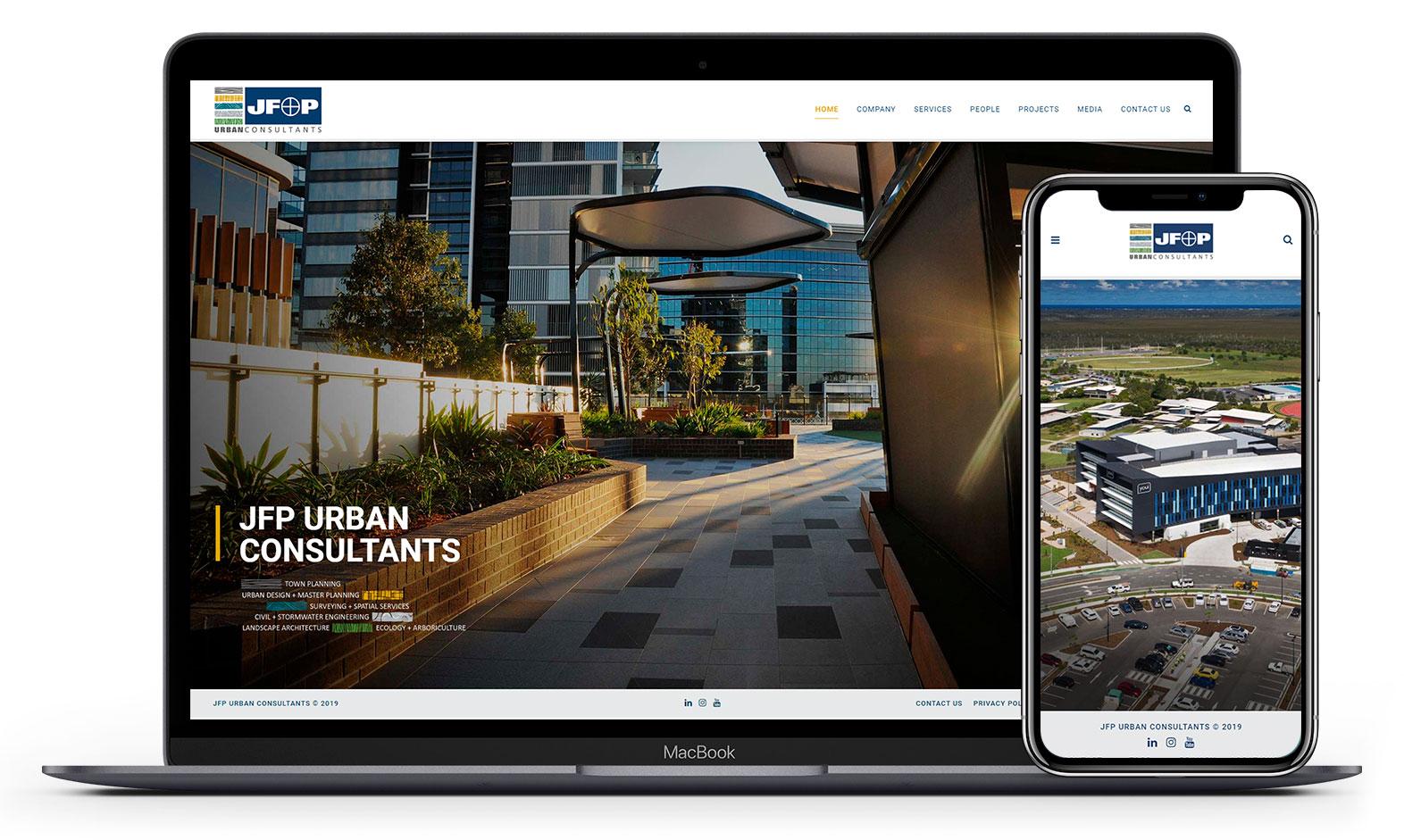 JFP's website design displayed responsive devices