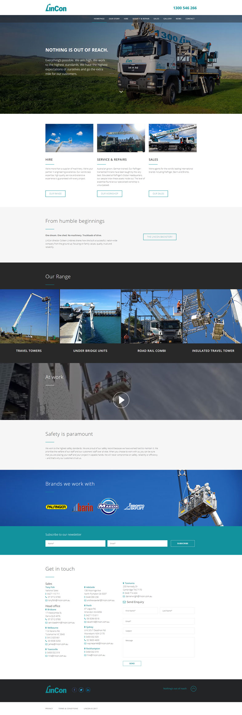 Lincon Hire's website design of the homepage