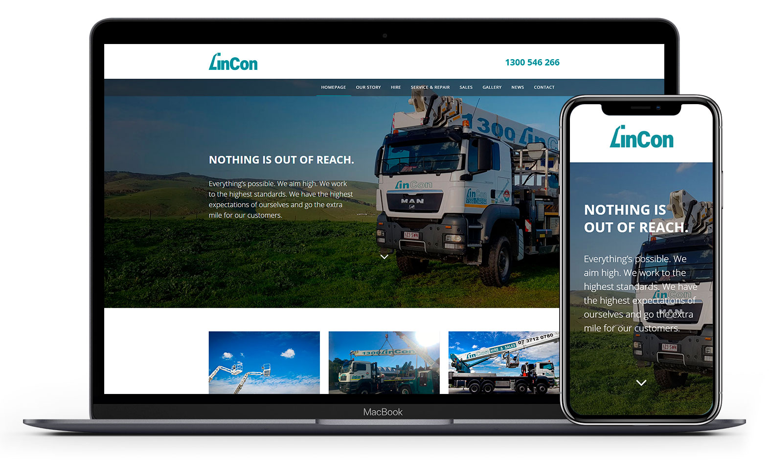Lincon Hire's website design displayed responsive devices