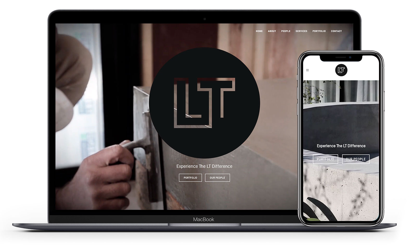 LT's website design displayed responsive devices