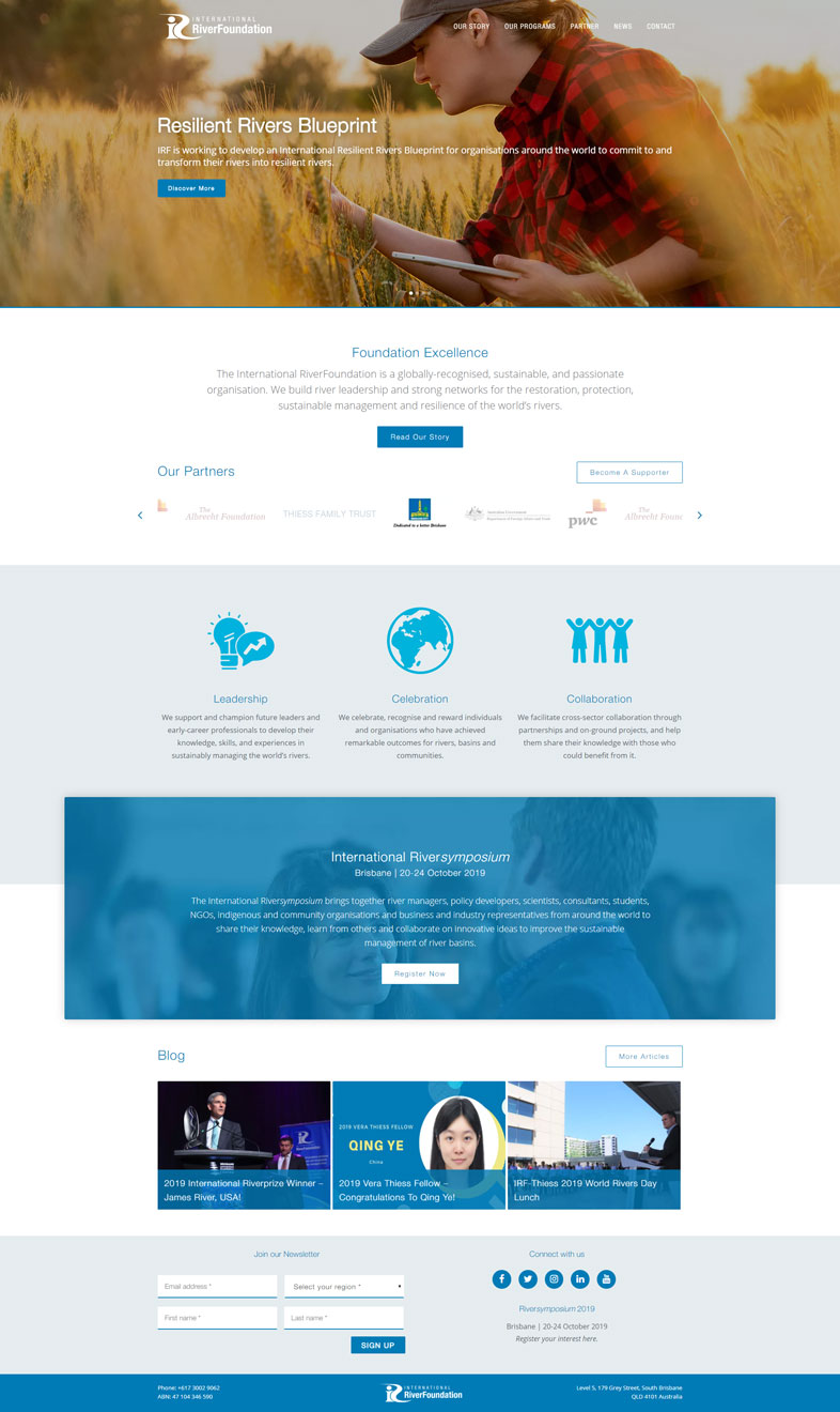 International RiverFoundation's website design of the homepage