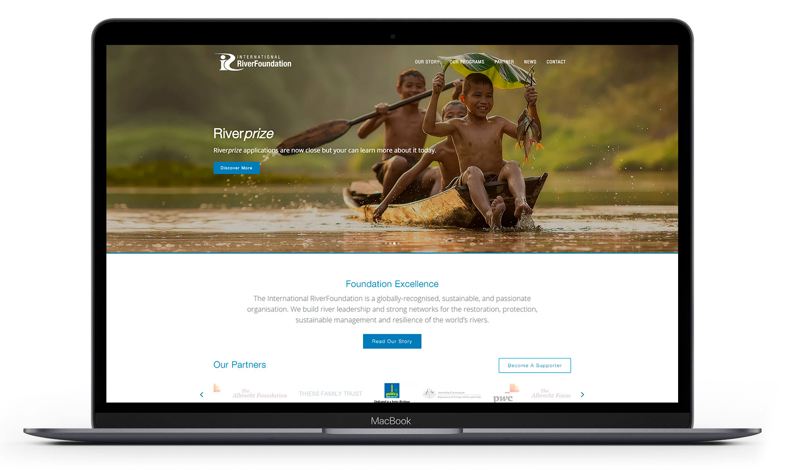 International RiverFoundation's website design displayed responsive devices