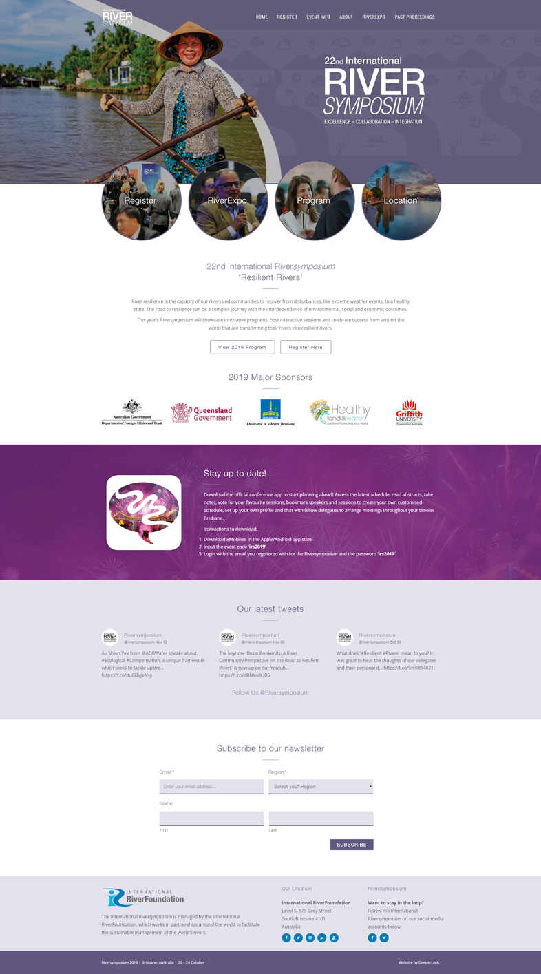RiverSymposium's website design of the homepage