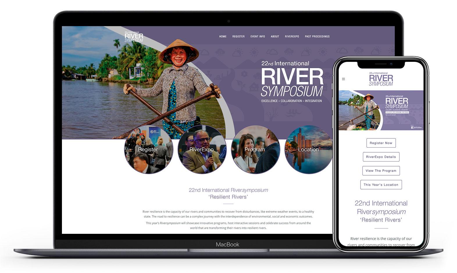 RiverSymposium's website design displayed responsive devices