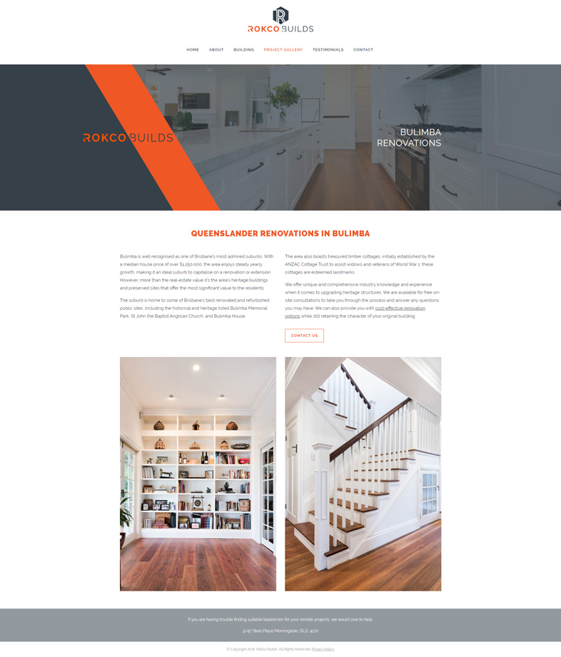 Rokco Builds' website design of a project gallery page