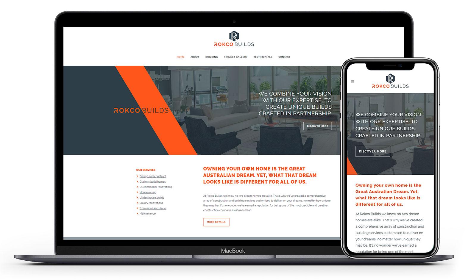 Rokco Builds' website design displayed responsive devices