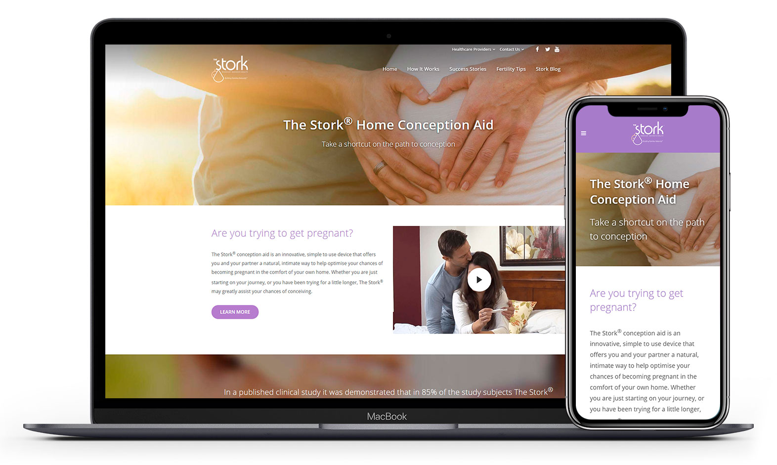 Stork Contraception Aid's website design displayed responsive devices