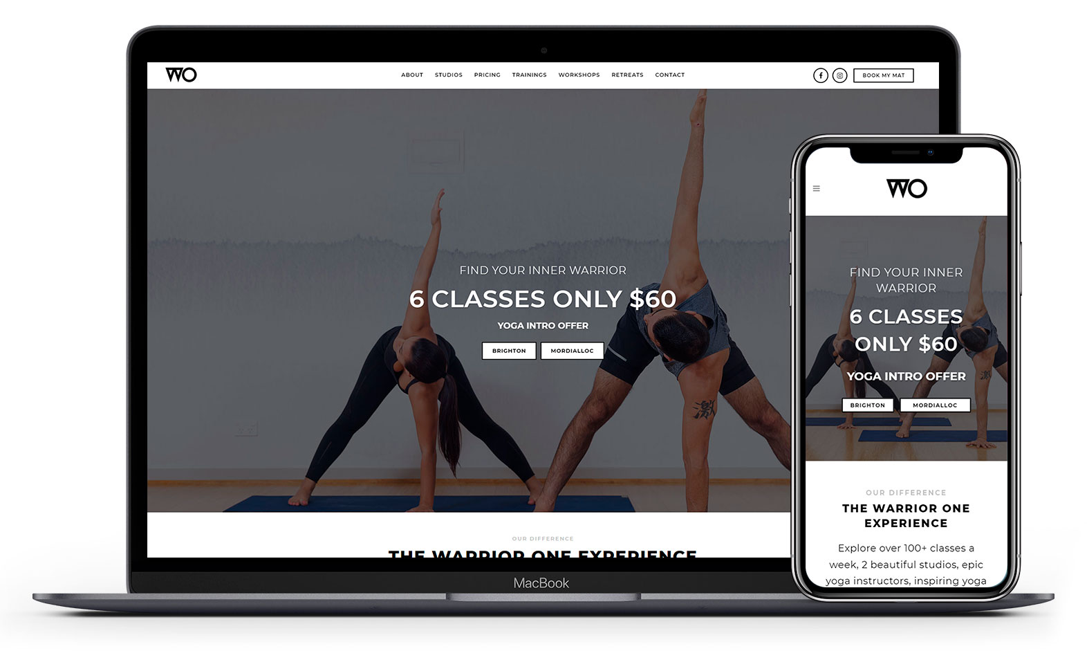 Warrior One Yoga's website design displayed responsive devices