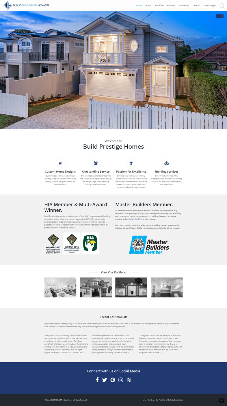 Build Prestige Homes' website design of the homepage