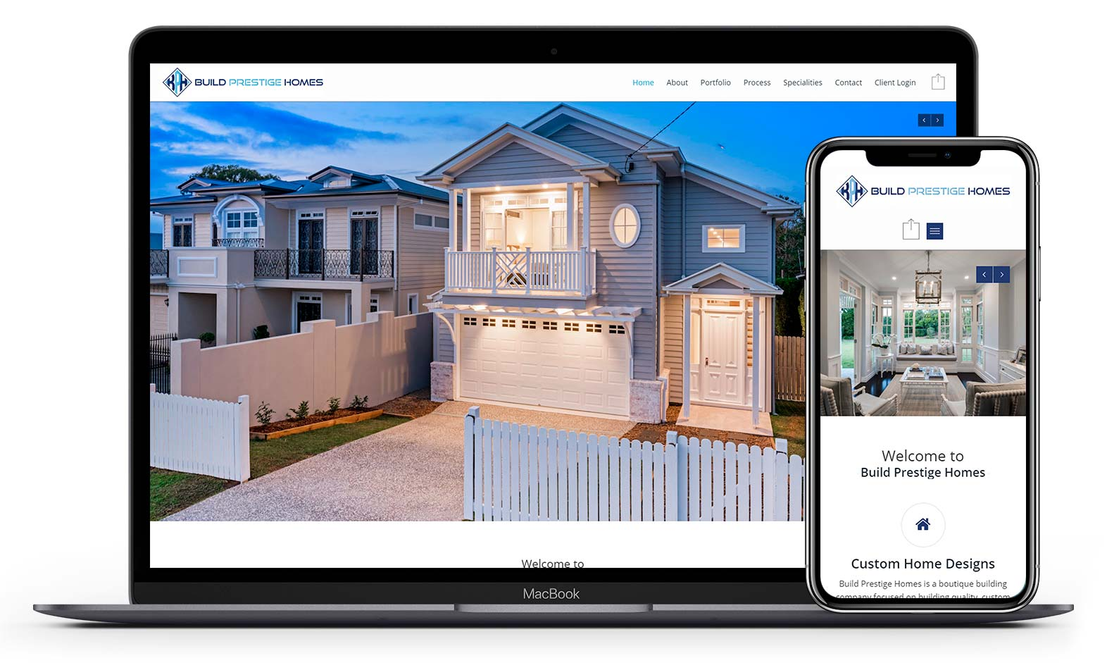 Build Prestige Homes' website design displayed responsive devices