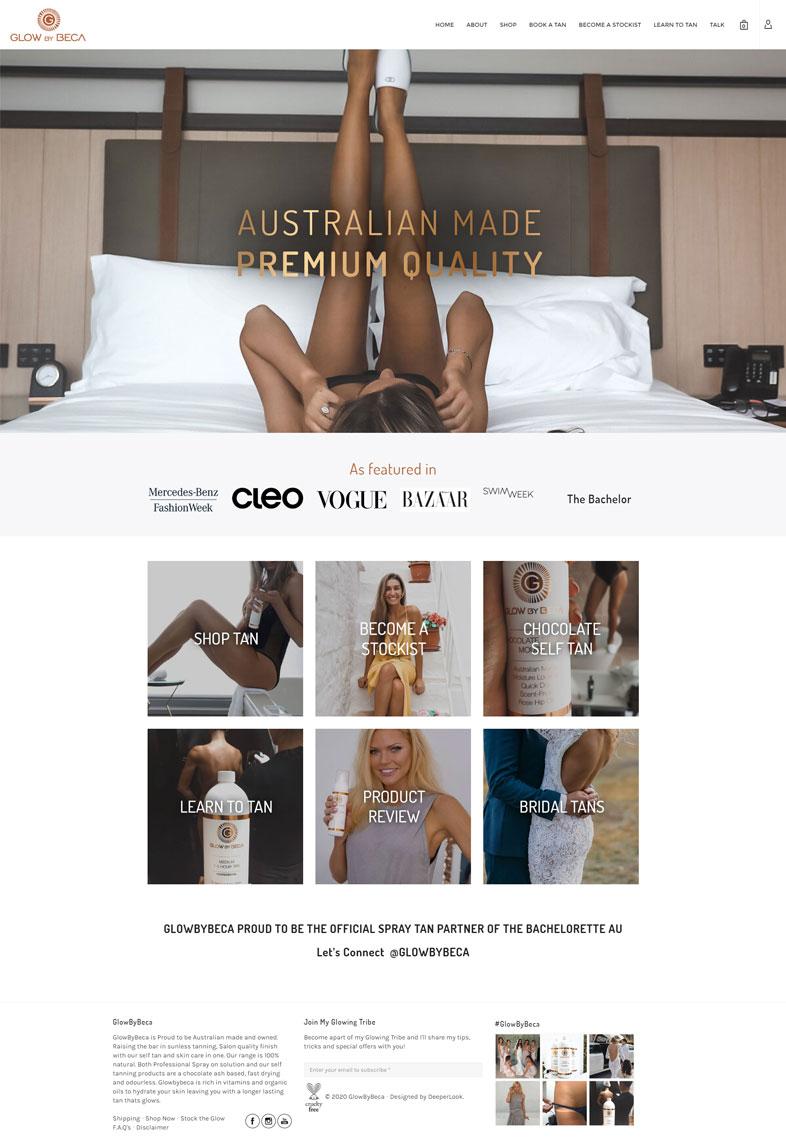GlowByBeca's website design of the homepage