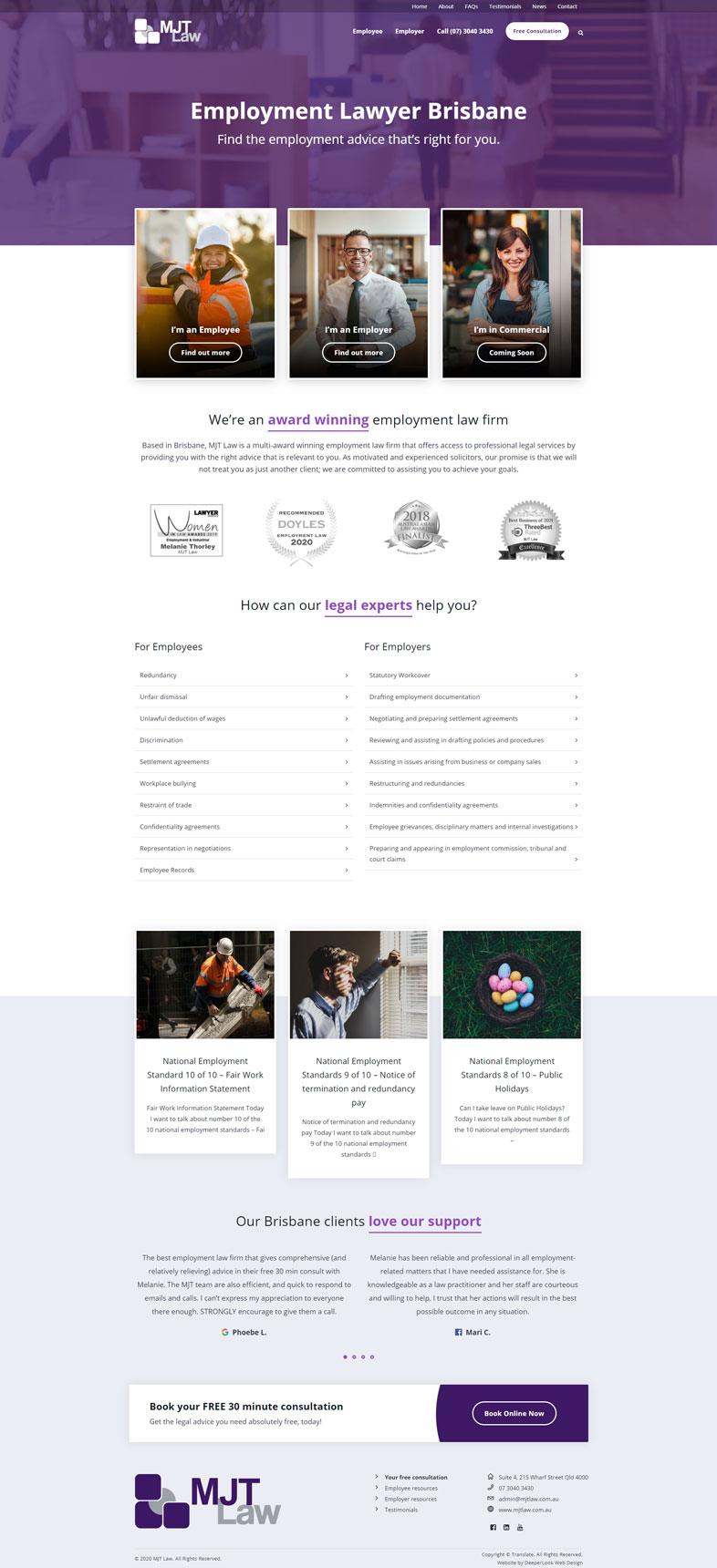 MJT Law's website design of the homepage