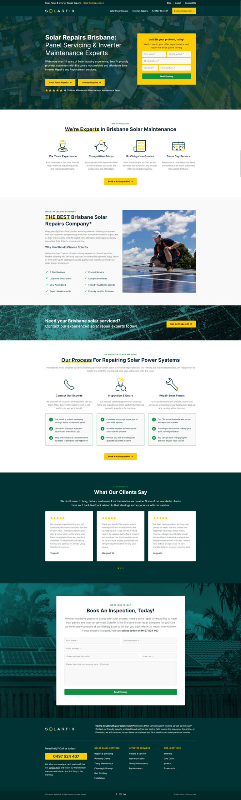 Solarfix's website design of the homepage