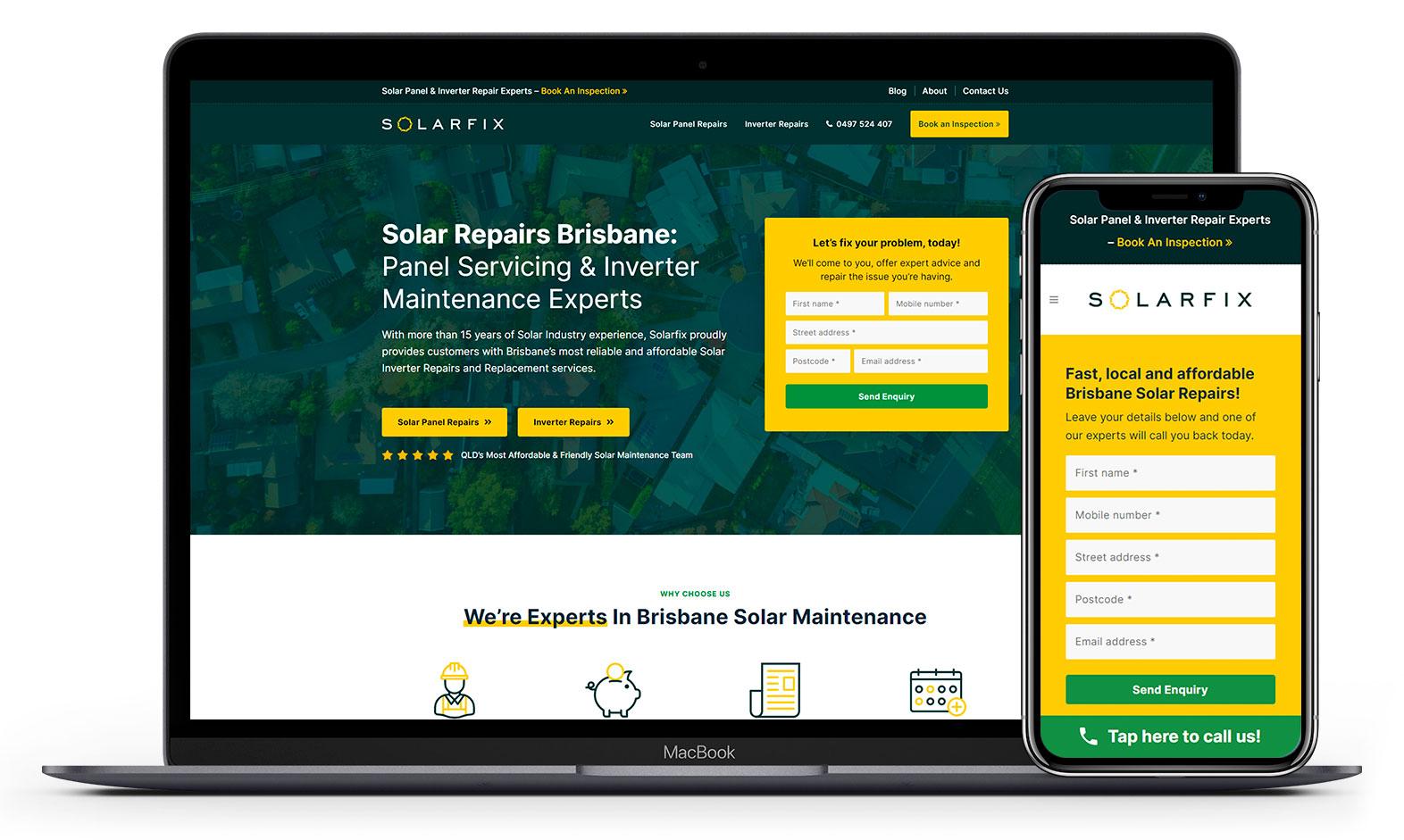 Solarfix's website design displayed on responsive devices